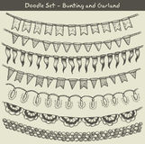 Bunting and garland doodle set Stock Photos