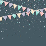 Bunting garland. Mesmeric celebration card with colorful paper bunting garland and confetti. Party background with bright decorations. Vector illustration Stock Photo