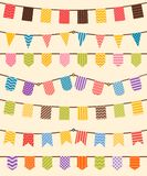 Bunting and garland set in various colors Stock Images