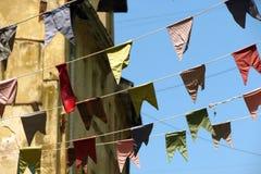 Bunting, kleurrijke partijvlaggen Royalty-vrije Stock Foto's