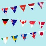 Bunting med flaggor av de mest industriländerna i världen stock illustrationer