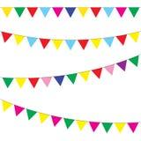 Bunting- och girlanduppsättning festliga flaggor vektor Royaltyfria Bilder