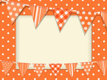 Bunting and orange polka dot frame Royalty Free Stock Photography