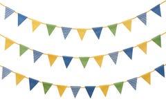 Bunting partiflaggor som isoleras på vit Royaltyfria Foton
