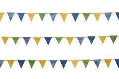 Bunting partiflaggor som isoleras på vit Royaltyfria Bilder