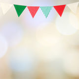 Bunting party flag on blur abstract bokeh light background, with Stock Photo