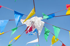 Bunting party Flags On A blue sky stock image
