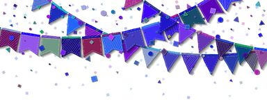 Bunting party flags. Decent celebration card. Blue and purple holiday decorations and confetti. Bunting party flags vector illustration Stock Photo