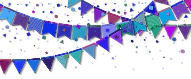 Bunting party flags. Delightful celebration card. Blue and purple holiday decorations and confetti. Bunting party flags vector illustration Stock Image