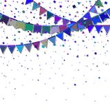 Bunting party flags. Divine celebration card. Blue and purple holiday decorations and confetti. Bunting party flags vector illustration Royalty Free Stock Photography