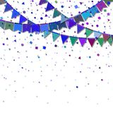 Bunting party flags. Elegant celebration card. Blue and purple holiday decorations and confetti. Bunting party flags vector illustration Royalty Free Stock Image