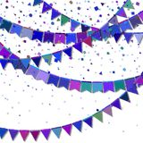Bunting party flags. Emotional celebration card. Blue and purple holiday decorations and confetti. Bunting party flags vector illustration Royalty Free Stock Photography
