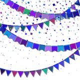 Bunting party flags. Enchanting celebration card. Blue and purple holiday decorations and confetti. Bunting party flags vector illustration Stock Photo