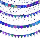 Bunting party flags. Energetic celebration card. Blue and purple holiday decorations and confetti. Bunting party flags vector illustration Stock Photo