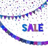 Bunting party flags. Excellent celebration card. Blue and purple holiday decorations and confetti. Bunting party flags vector illustration Royalty Free Stock Photography