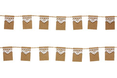 Bunting party flags made from kraft paper and lace isolated on w. Hite background. Scrapbook elements Stock Images