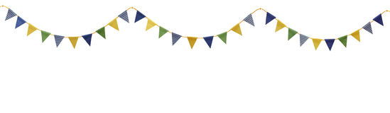 Bunting party flags made from scrap booking paper Royalty Free Stock Photo