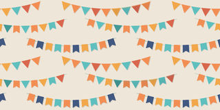 Bunting party flags seamless vector pattern. For your designs Royalty Free Stock Image