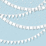 Bunting party. Pleasing celebration card with white stitched cutout paper bunting party and confetti on blue background. Party background with paper Royalty Free Stock Image