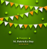 Bunting Pennants in Irish Colors and Clovers for St. Patrick`s D Royalty Free Stock Photography