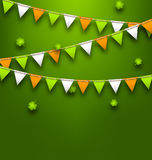 Bunting Pennants in Irish Colors and Clovers for St. Patrick s Day Stock Image