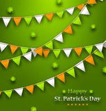 Bunting Pennants in Irish Colors and Clovers for St. Patricks Day Stock Photo