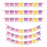 Bunting set pastel violet, yellow and pink colors. Can be used for scrapbook, greeting cards, baby shower and web design. Vintage Stock Images
