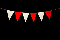 Bunting, six red and white triangles on string for banner messag Royalty Free Stock Photo