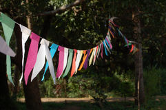 Bunting in the sunshine. A row of multi-coloured tissue paper bunting hanging in the sunshine.  Goa, India Royalty Free Stock Images
