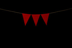 Bunting, three red triangles on string for banner message
