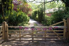 Bunting Union Jack flags decorating a gate Stock Photography