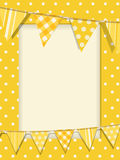 Bunting and yellow polka dot frame Stock Images