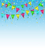 Buntings with confetti on sky Royalty Free Stock Images