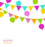 Buntings Flags Pennants and Balloons. Illustration Simple Multicolored Buntings Flags Pennants and Balloons, Party Decoration - Vector Royalty Free Stock Photo