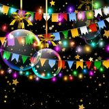 Buntings garland with realistic flags and colored lamps. Holida. Y background with gold star confetti and Christmas balls. Place for text royalty free illustration