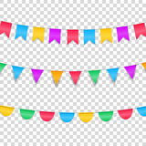 Buntings garlands  on transparent. Colorful buntings decorations for holiday events.  Stock Image