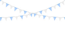 Buntings garlands  on white background. Oktoberfest. Decoration. Decorated in traditional colors of Bavaria Royalty Free Stock Image