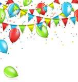 Buntings met confettien en luchtballen die op wit worden geïsoleerd Royalty-vrije Stock Fotografie