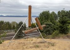 `Bunyon`s Chess` by Mark di Suvero, Olympic Sculptue Park, Seattle, Washington, United States. Pictured is a stainless steel and wood sculpture titled `Bunyon`s stock images