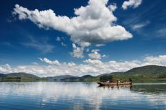 Bunyonyi lake in Uganda Royalty Free Stock Images