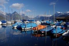 Buochs Jachthafen auf See Luzerne Stockfotos