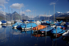 Buochs Marina on Lake Lucerne Stock Photos
