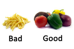 Buon alimento sano, alimento non sano difettoso 2 Immagini Stock