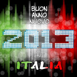 Buon Anno 2013 dallitalia. Happy new years eve with a multicolored background, bright text like little light ball and the colors of the italian flag, green white Stock Images