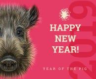 Buon anno 2019 anni della carta di carta del maiale Anni cinesi di simbolo, segno dello zodiaco per la cartolina d'auguri, alette Fotografia Stock Libera da Diritti