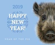Buon anno 2019 anni della carta di carta del maiale Anni cinesi di simbolo, segno dello zodiaco per la cartolina d'auguri, alette Immagine Stock Libera da Diritti
