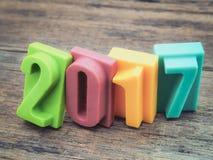 Buon anno 2017, barra del numero del cioccolato Fotografie Stock