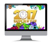 Buon anno 2017 Carattere del mostro sul computer Immagini Stock Libere da Diritti
