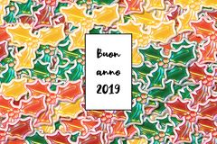 Buon anno 2019 card Happy New Year in italian with colored holly leaves as a background stock illustration