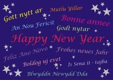 Buon anno - carta dell'insegna - multi lingue Fotografie Stock